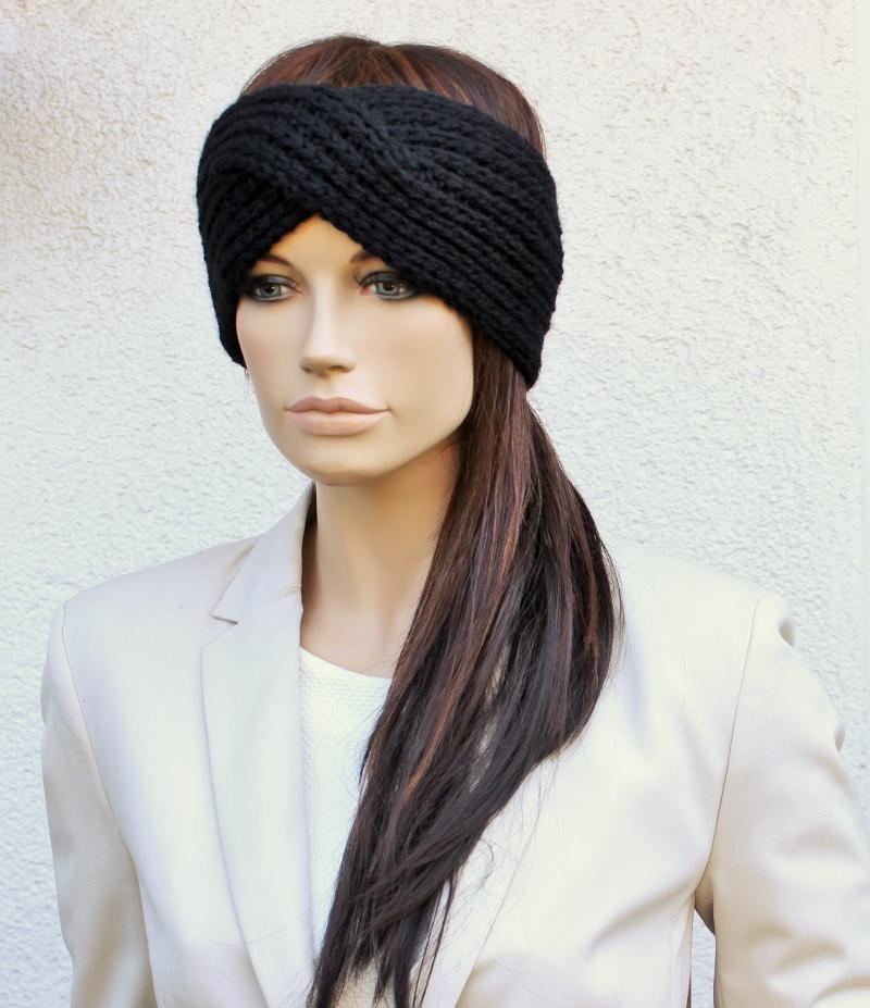 Kleinesbild - Stirnband, Turban Style, Wolle, Kaschmir, schwarz, Ohrenschützer, gestrickt