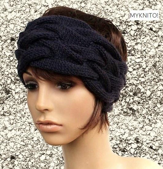 - Stirnband, Wolle, nachtblau, handgestrickt, Ohrenwärmer, gestricktes Stirnband - Stirnband, Wolle, nachtblau, handgestrickt, Ohrenwärmer, gestricktes Stirnband
