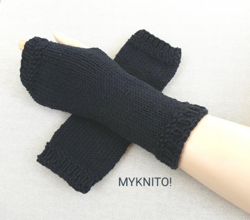 - ARMSTULPEN,  Wolle, schwarz, handgestrickt, fingerlose Handschuhe - ARMSTULPEN,  Wolle, schwarz, handgestrickt, fingerlose Handschuhe