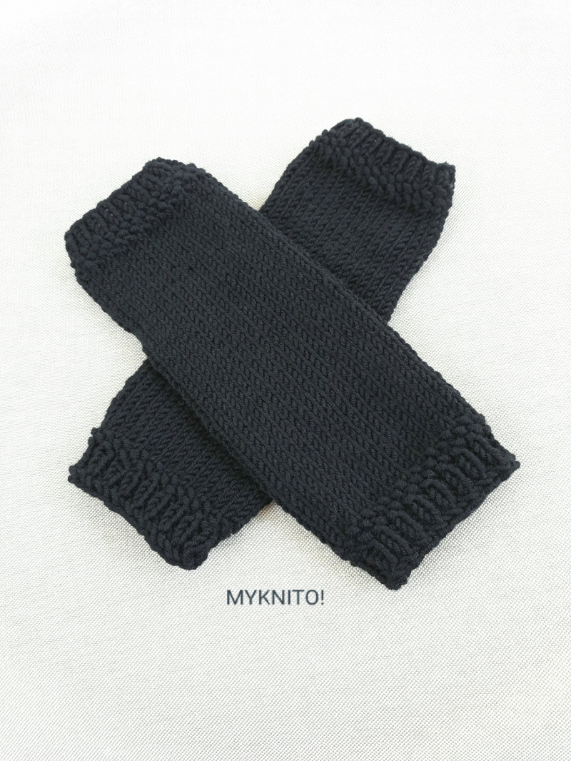 Kleinesbild - ARMSTULPEN,  Wolle, schwarz, handgestrickt, fingerlose Handschuhe