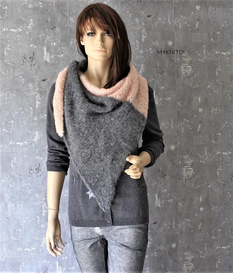 Kleinesbild - Dreieckstuch, Alpaka / Wolle, grau / nude, Schal, gestrickt, Strickschal, gestrickter Schal