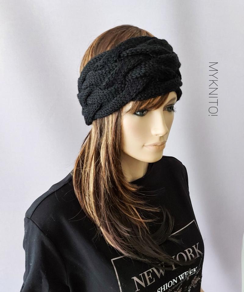 Kleinesbild - Stirnband, Wolle, schwarz, handgestrickt, Ohrenwärmer, gestrickt