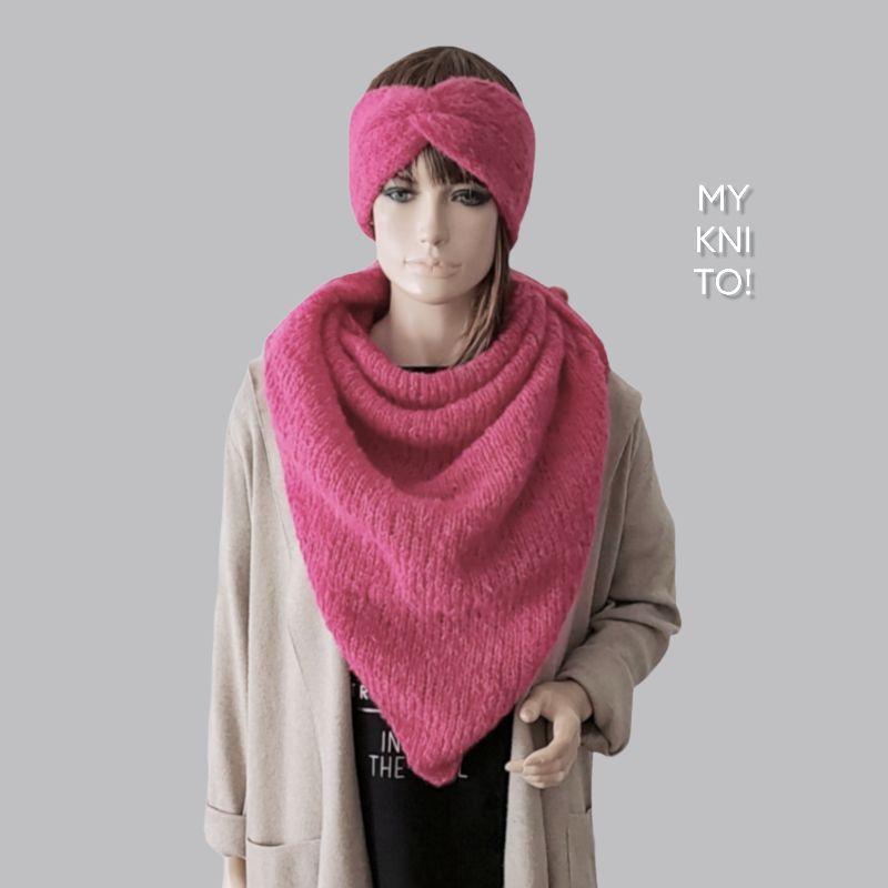 Kleinesbild - Dreieckstuch, Alpaka / Seide, pink, Schal, gestrickt, Strickschal, gestrickter Schal