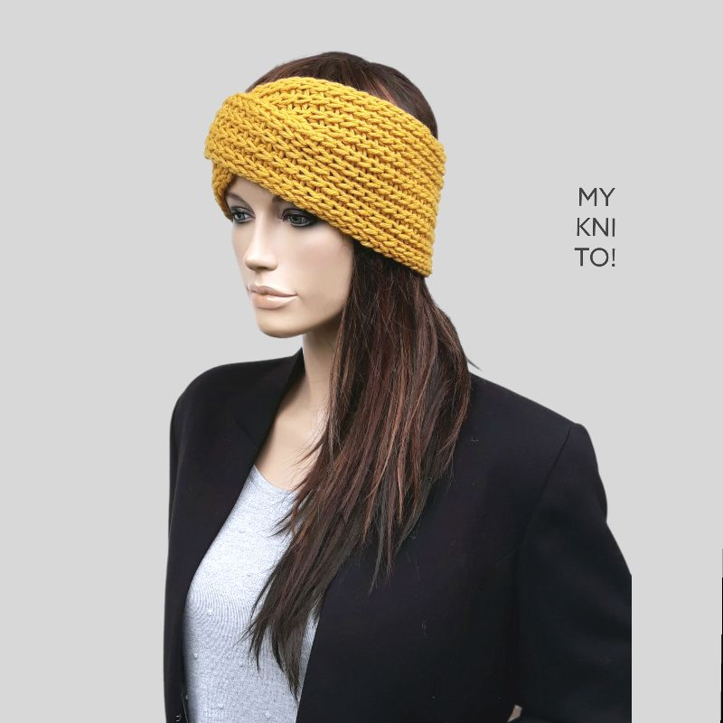 Kleinesbild - Stirnband, Wolle, senfgelb, handgestrickt, Ohrenwärmer, gestricktes Stirnband