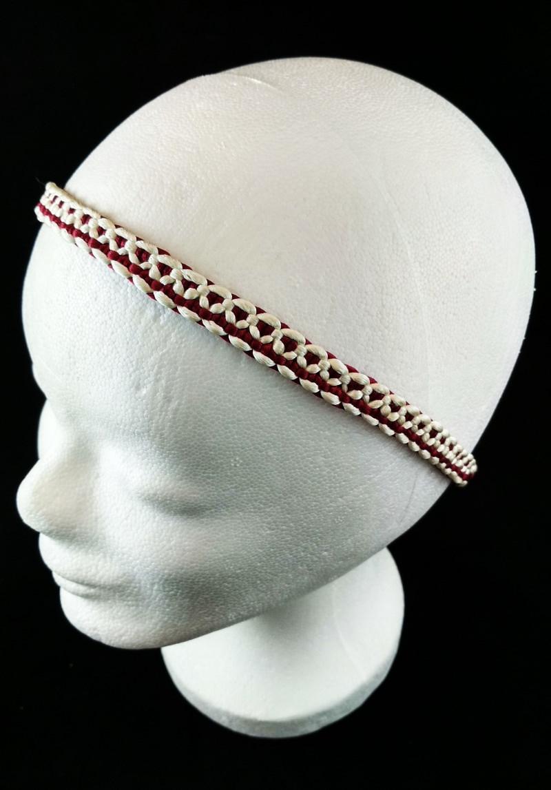 - Haarband größenverstellbar für Kinder und Erwachsene weiß und weinrot handmade geknotet kaufen - Haarband größenverstellbar für Kinder und Erwachsene weiß und weinrot handmade geknotet kaufen