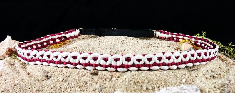 Kleinesbild - Haarband größenverstellbar für Kinder und Erwachsene weiß und weinrot handmade geknotet kaufen
