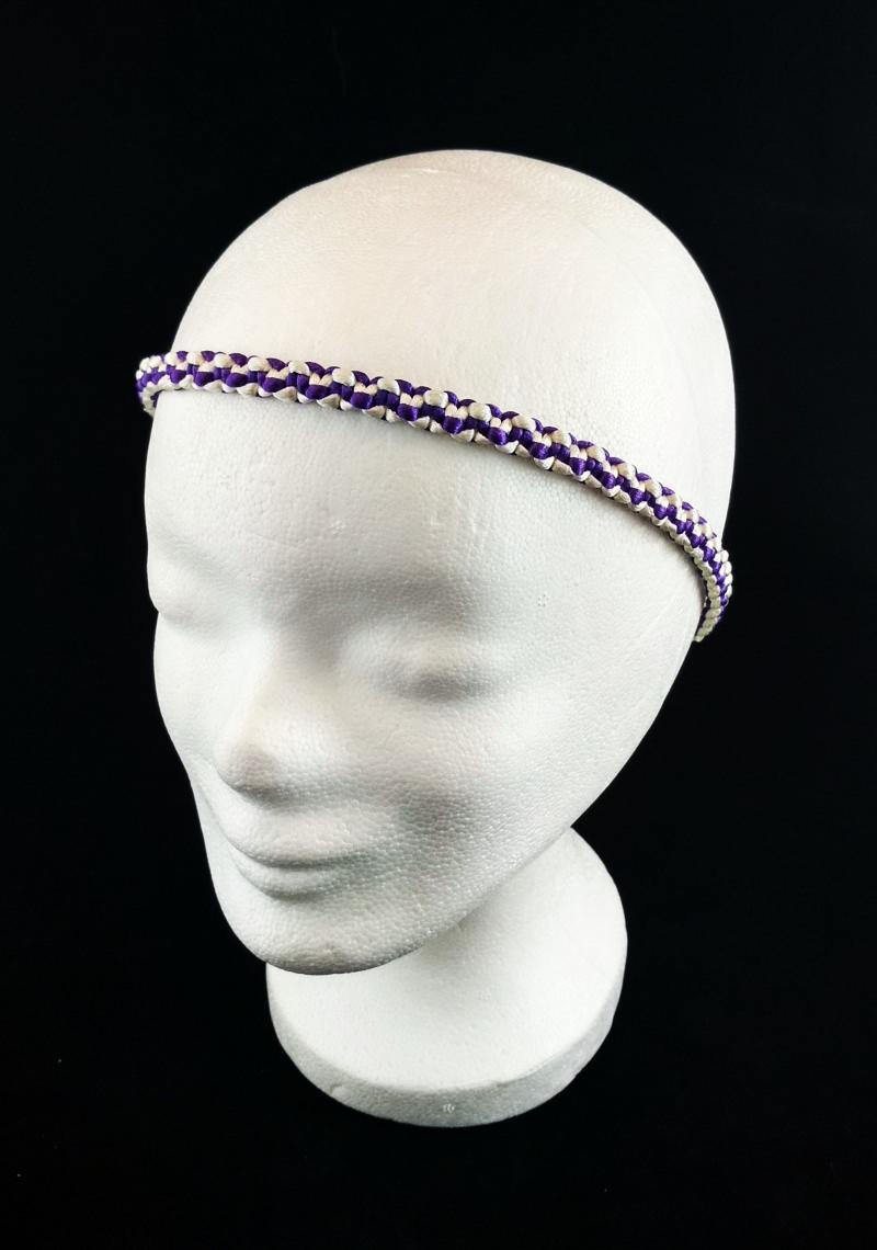 - Haarband größenverstellbar für Erwachsene und Kinder weiß und lila handmade Makramee kaufen - Haarband größenverstellbar für Erwachsene und Kinder weiß und lila handmade Makramee kaufen