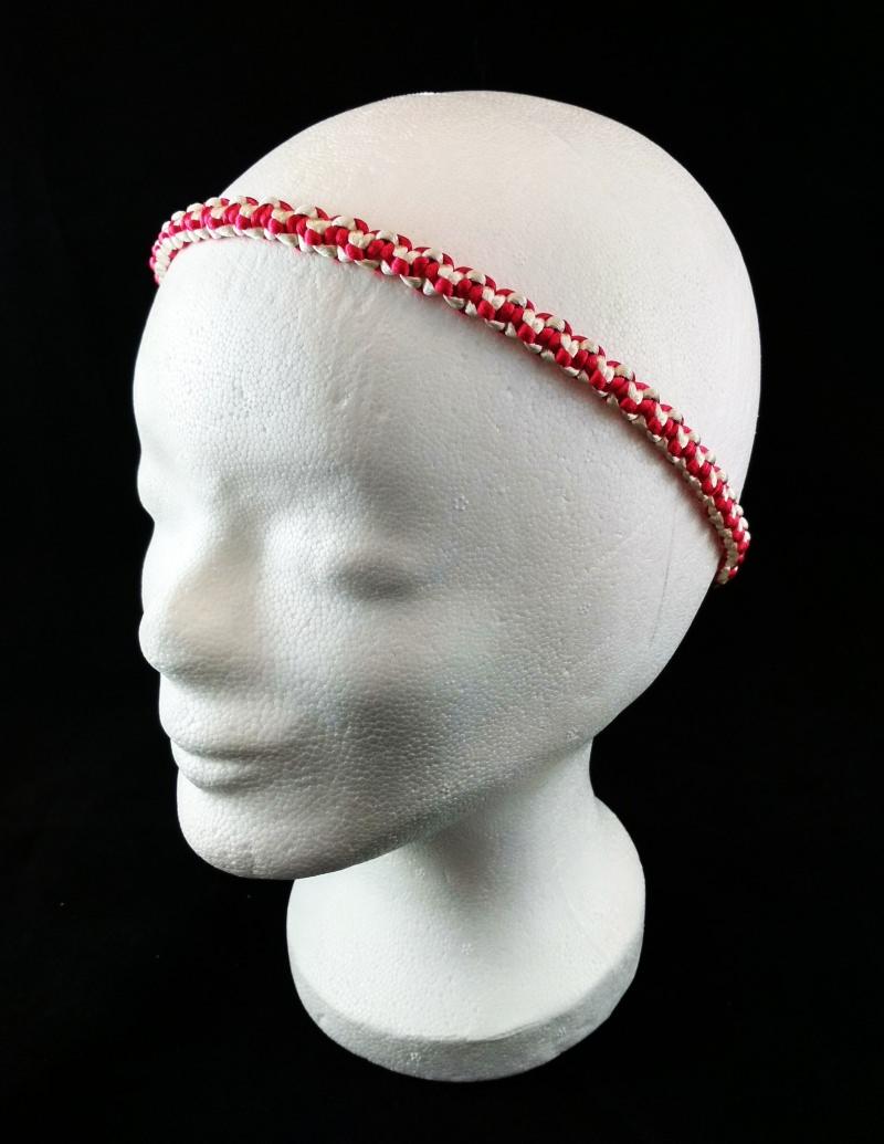 - Haarband größenverstellbar für Kinder und Erwachsene weiß und pink handmade geknotet kaufen - Haarband größenverstellbar für Kinder und Erwachsene weiß und pink handmade geknotet kaufen