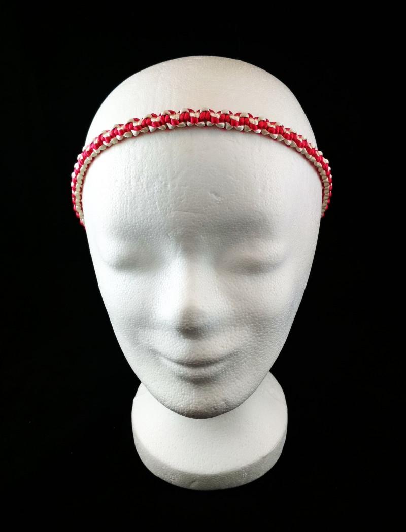 Kleinesbild - Haarband größenverstellbar für Kinder und Erwachsene weiß und pink handmade geknotet kaufen