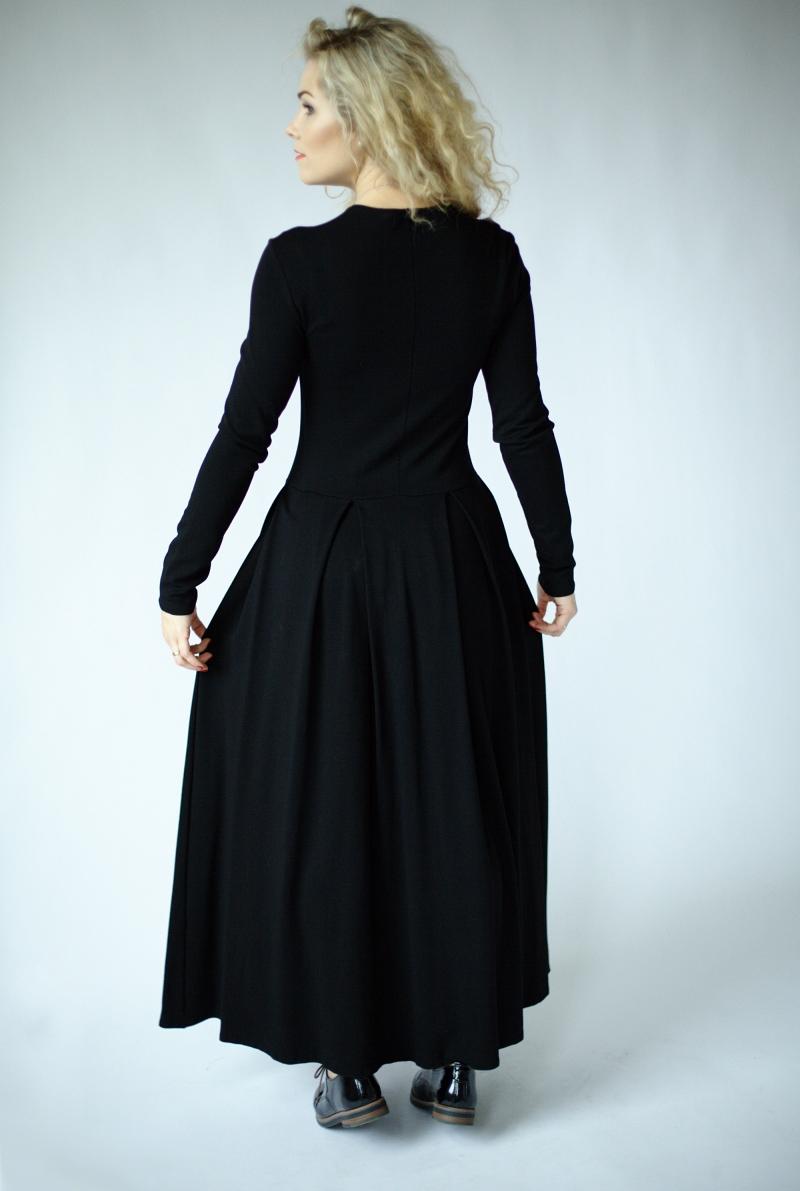 Schwarzes langes Kleid mit Ärmeln, Langarm-Maxikleid ...