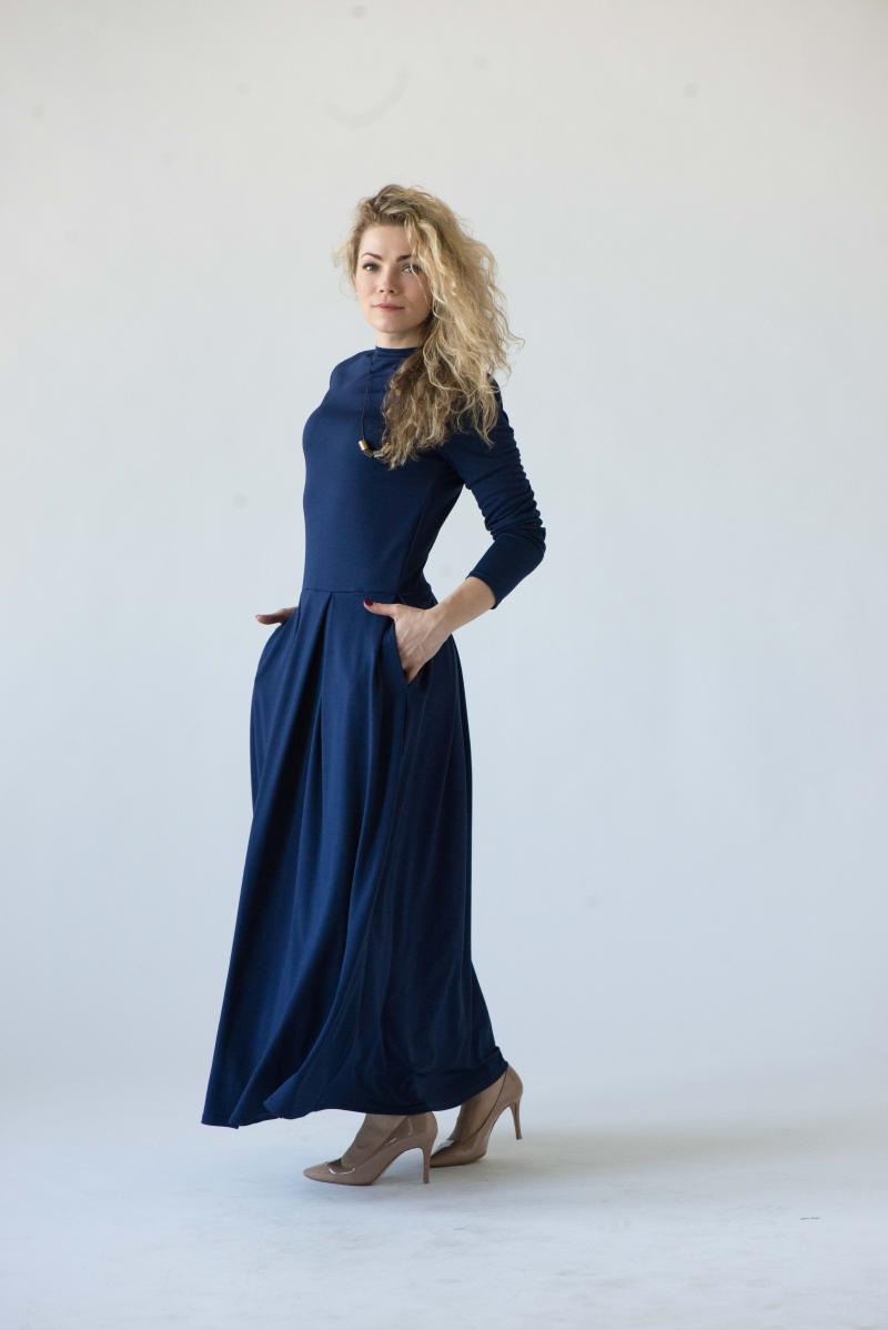 blaues kleid lange ärmel d2b53c