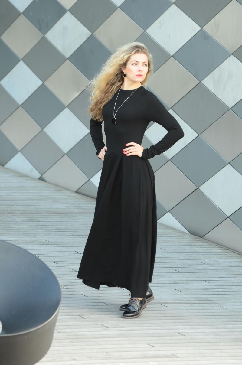 Kleider : Langarm-Maxikleid, schwarzes langes Kleid mit ...