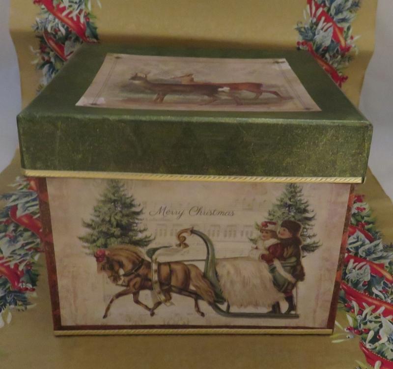 - Schachtel, weihnachtlich, quadratisch, Decoupage - Schachtel, weihnachtlich, quadratisch, Decoupage