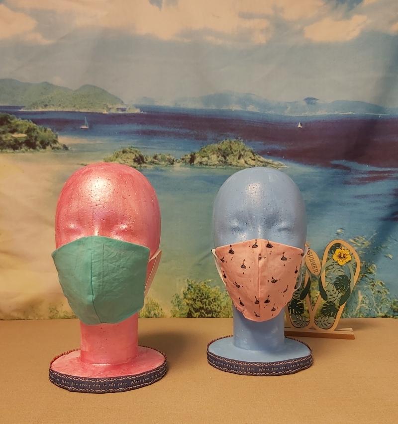 Kleinesbild - 1 Mund-Nasen-Maske / Behelfsmaske für Kinder im Wende-Design Rosa-Ballerina / Mintgrün
