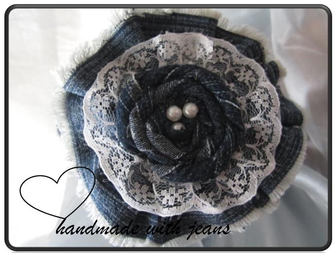 Kleinesbild - Jeans Haarreif mit Perlen, Einzelstück, handgemacht