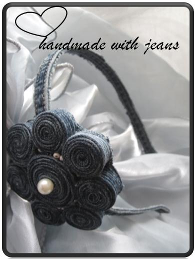 Kleinesbild - Jeans Haarreif mit Perlen, Einzelstück, handgemacht (Kopie id: 19155)