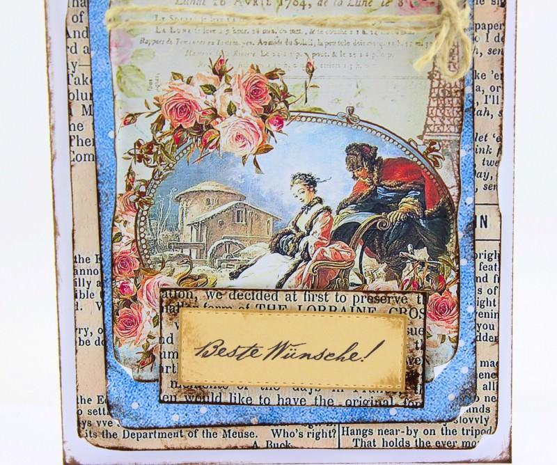 Kleinesbild - Vintage 3D Grußkarte BESTE WÜNSCHE