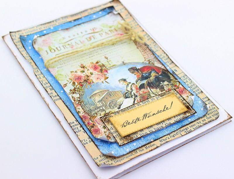 - Vintage 3D Grußkarte BESTE WÜNSCHE - Vintage 3D Grußkarte BESTE WÜNSCHE