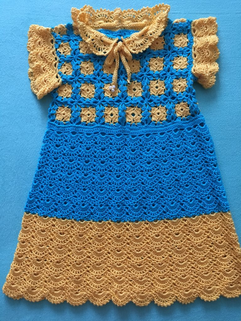 - Baby-Kleidchen gelb / blau - Baby-Kleidchen gelb / blau