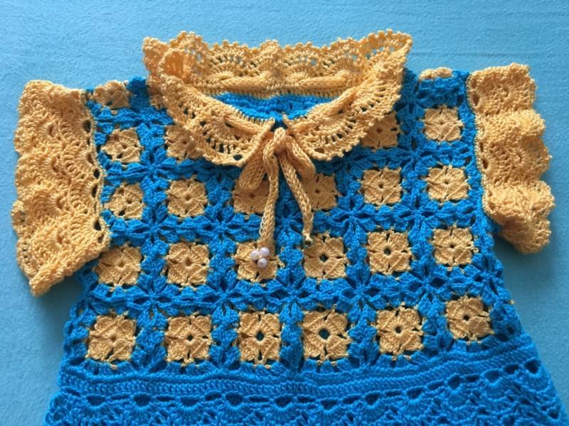 Kleinesbild - Baby-Kleidchen gelb / blau