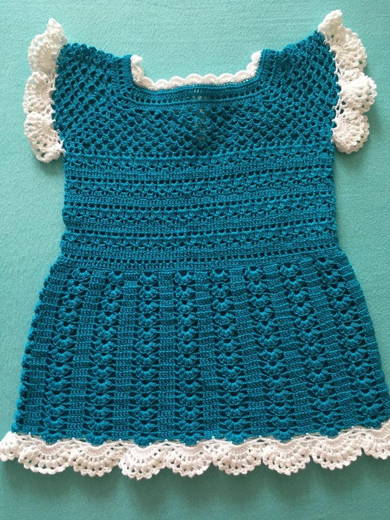 Kleinesbild - Baby-Kleidchen türkish / weiß