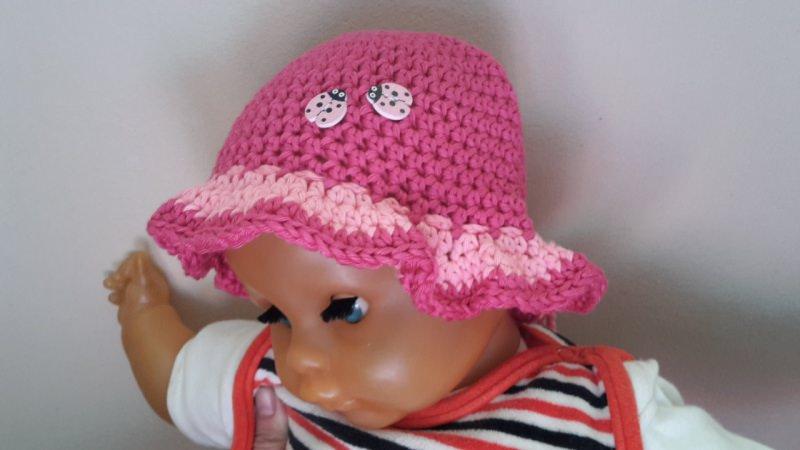 - Sommerhut  Mütze für Kinder gehäkelt in pink - Sommerhut  Mütze für Kinder gehäkelt in pink