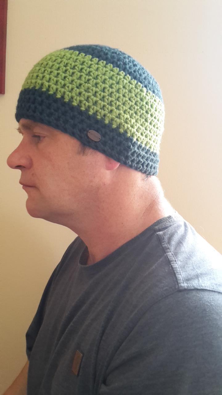 - Gehäkelte Mütze  für Männer, Winter  in petrol grün - Gehäkelte Mütze  für Männer, Winter  in petrol grün