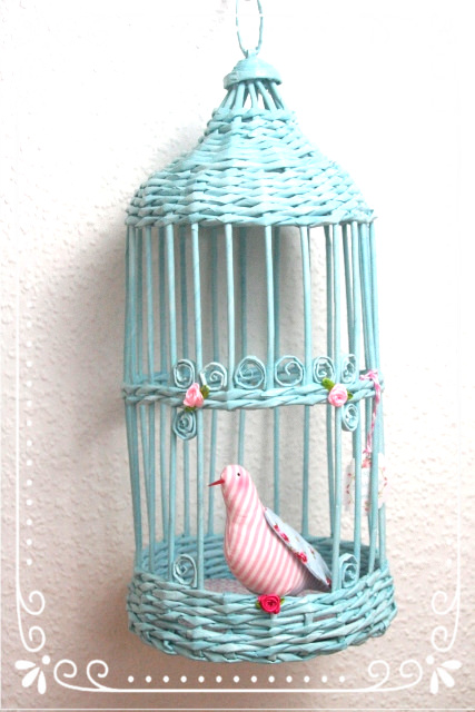 Kleinesbild - ~•♡•~ Deko-Vogelkäfig incl. Piepmatz+Bodendeckchen ~•♡•~