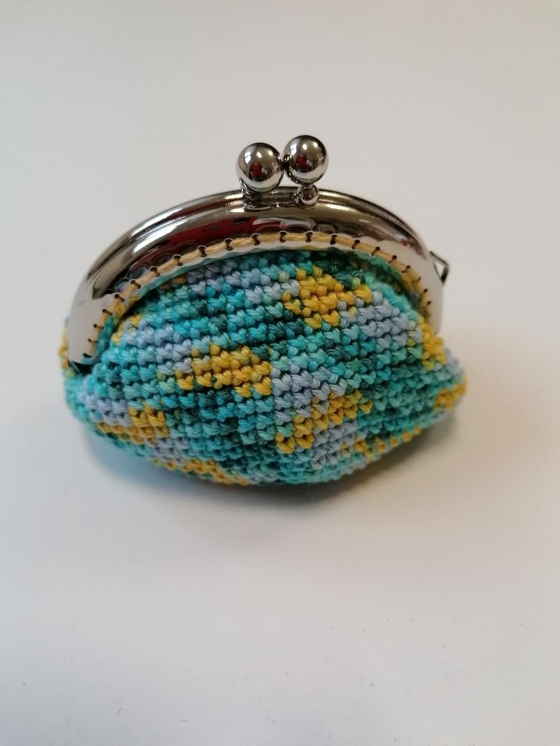 Kleinesbild - Geldbörse mit Bügel; türkis-gelb melliert, 100% Baumwolle Eisenbügel
