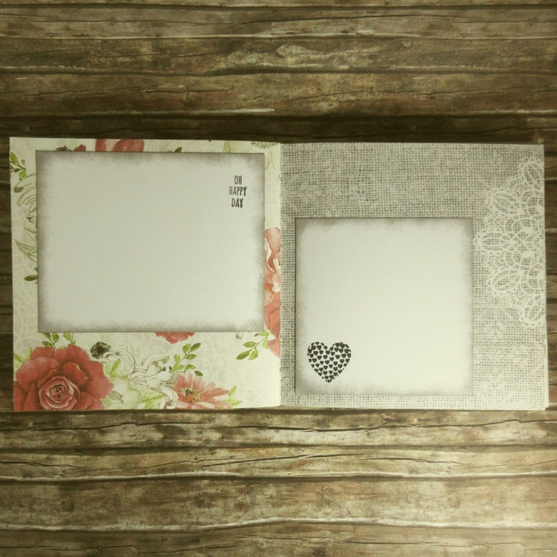 Kleinesbild - Erinnerungsbuch mit Coptic-Stitch-Bindung Liebe mit Blüte, Spitze und Doilies in Rot, Grün, Grau und Weiß