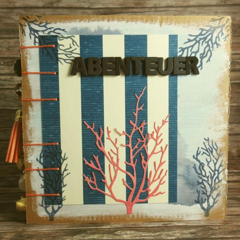 - Erinnerungsbuch mit Coptic-Stitch-Bindung Reise mit Korallen und Fischen in Blau, Rot, Orange, Grün und Weiß - Erinnerungsbuch mit Coptic-Stitch-Bindung Reise mit Korallen und Fischen in Blau, Rot, Orange, Grün und Weiß