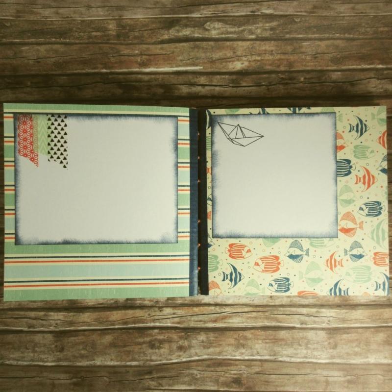 Kleinesbild - Erinnerungsbuch mit Coptic-Stitch-Bindung Reise mit Korallen und Fischen in Blau, Rot, Orange, Grün und Weiß