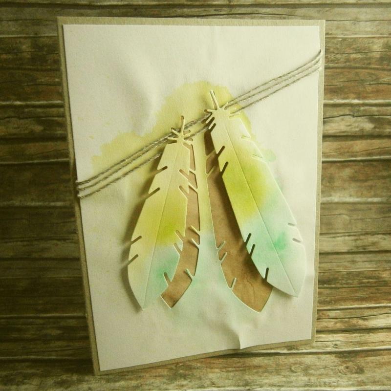 - Handgemachte Klappkarte mit grünen Federn in Aquarell Din A6 - Handgemachte Klappkarte mit grünen Federn in Aquarell Din A6