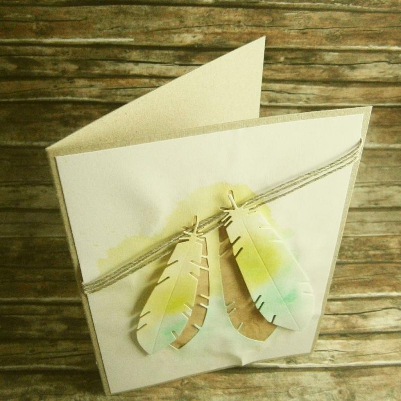 Kleinesbild - Handgemachte Klappkarte mit grünen Federn in Aquarell Din A6