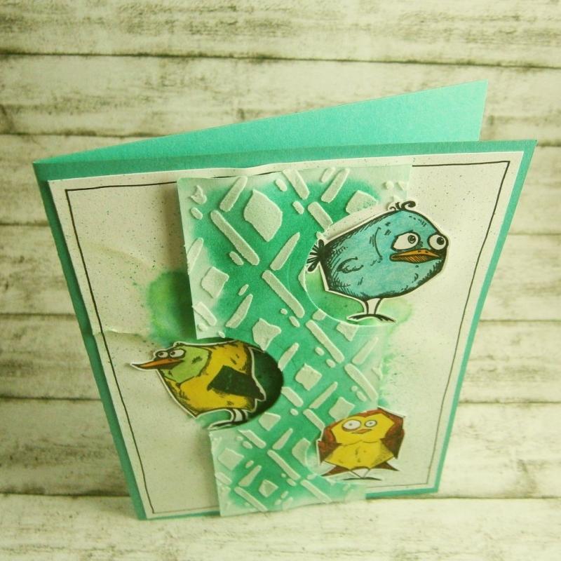 Kleinesbild - Handgemachte Klappkarte mit bunten Vögel in Aquarell Din A6