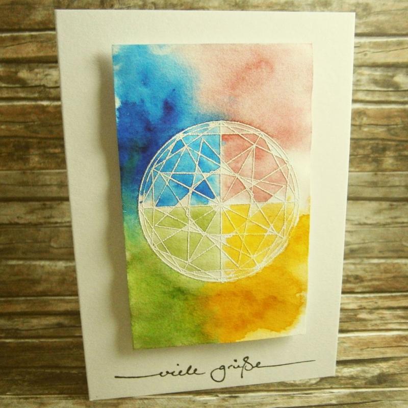 50 Stück DIN A6 Doppelkarte  Regenbogen Aquarell Faltkarte