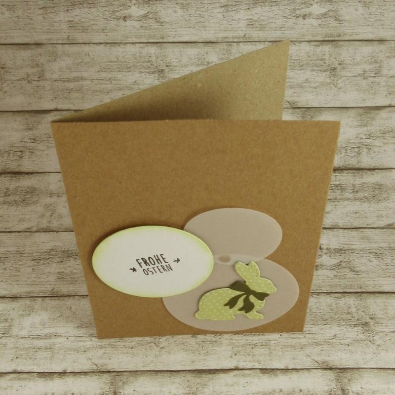 Kleinesbild - Handgemachte Klappkarte mit Kreisen und großem Hasen mit Schleife in Grün und Dunkelgrün Din A6