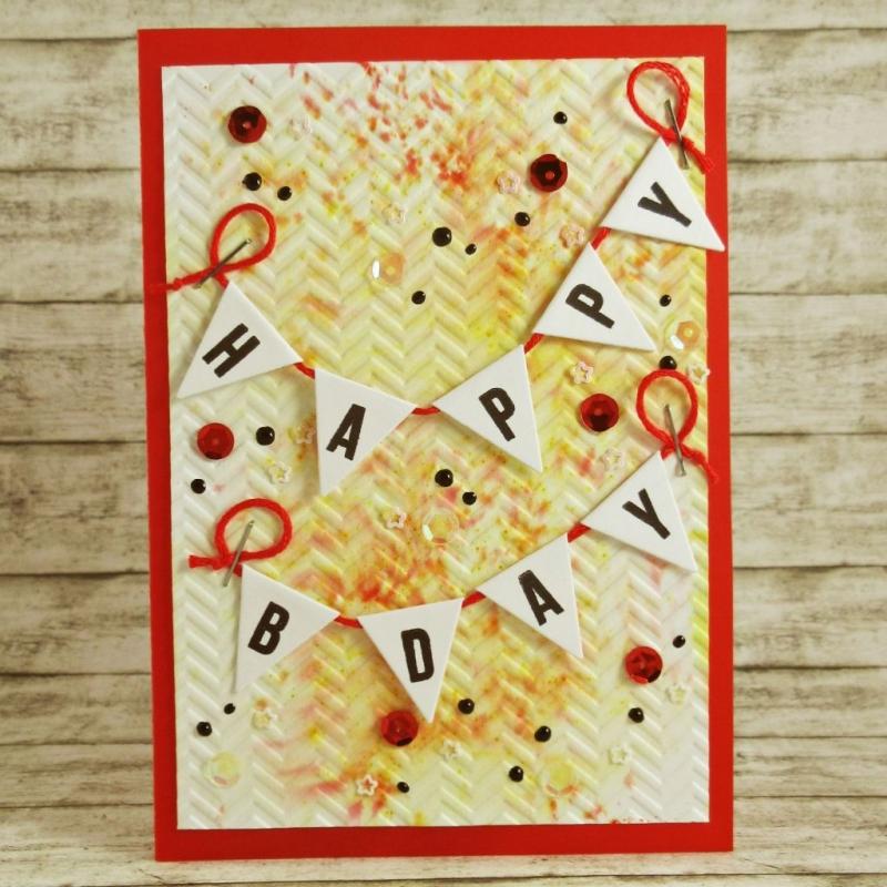 - Handgemachte Klappkarte zum Geburtstag mit Wimpelgirlanden, Pailletten und Dots in Rot und Orange Din A6 - Handgemachte Klappkarte zum Geburtstag mit Wimpelgirlanden, Pailletten und Dots in Rot und Orange Din A6