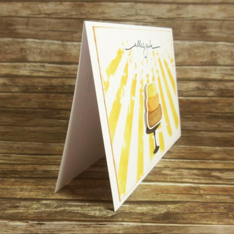 Kleinesbild - Handgemachte Klappkarte mit Sonnenstrahlen und Kuchen in Gelb und Braun Din A6