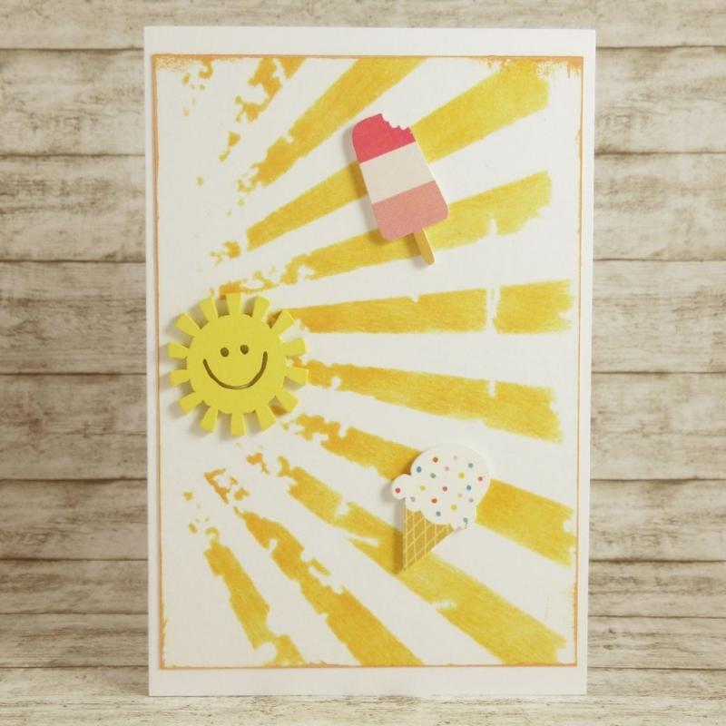 - Handgemachte Klappkarte mit Sonne und Eiscreme in Gelb, Rosa und Pink Din A6 - Handgemachte Klappkarte mit Sonne und Eiscreme in Gelb, Rosa und Pink Din A6