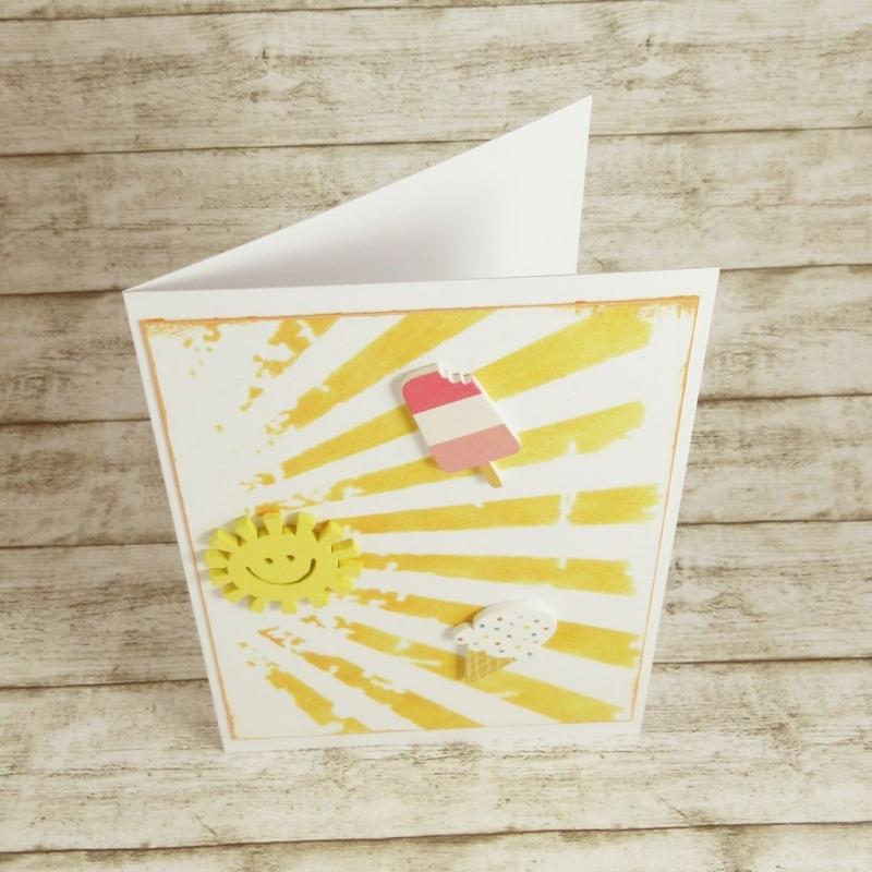 Kleinesbild - Handgemachte Klappkarte mit Sonne und Eiscreme in Gelb, Rosa und Pink Din A6