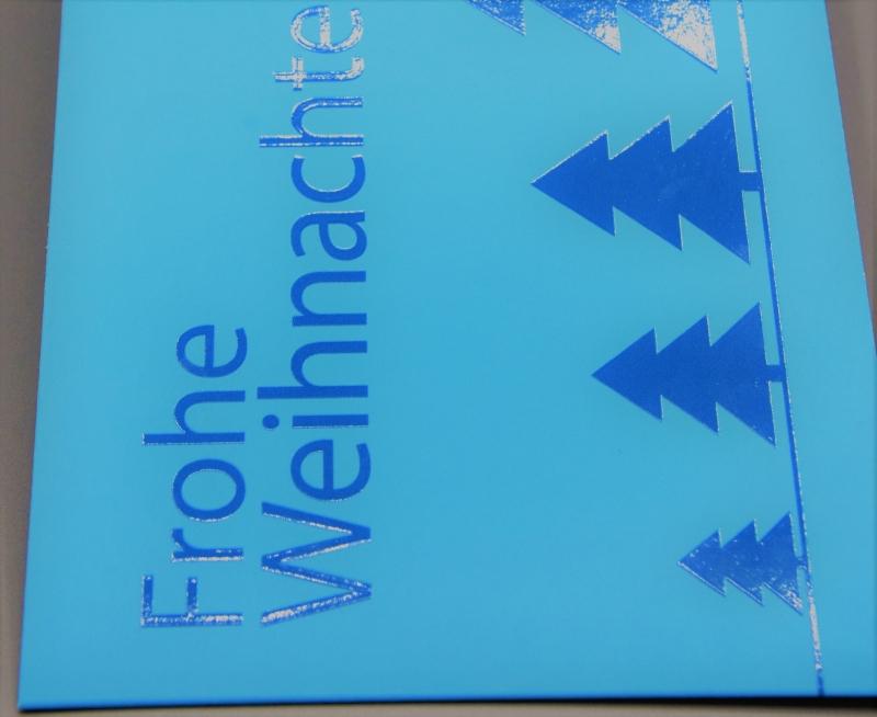 """Kleinesbild - Weihnachtskarte """"Weihnachtsbäume auf blau"""" ♡ selbst entworfen ♡ inkl. Kuvert und Versand plus Gratis-Karte"""