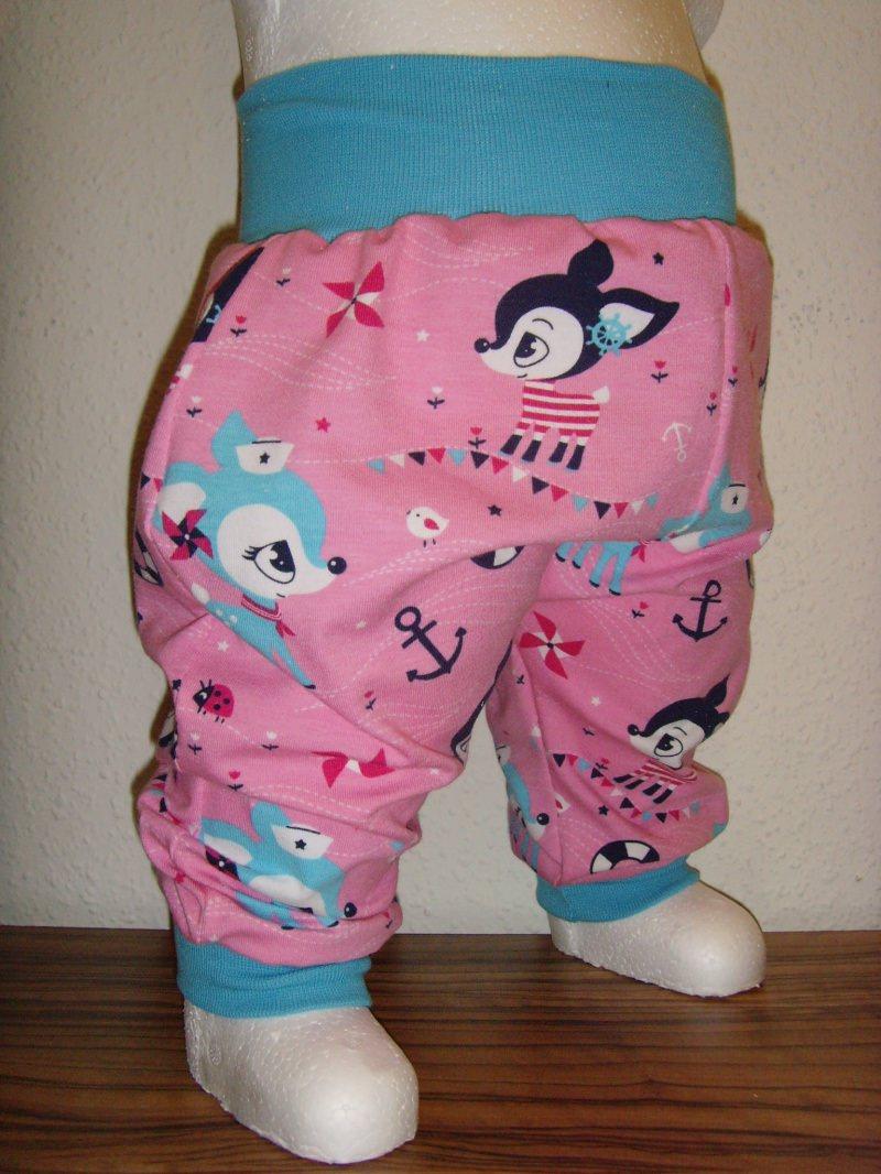 - Baby Pumphose in Pink mit kleinen Hafenkitz Gr. 50 - Baby Pumphose in Pink mit kleinen Hafenkitz Gr. 50