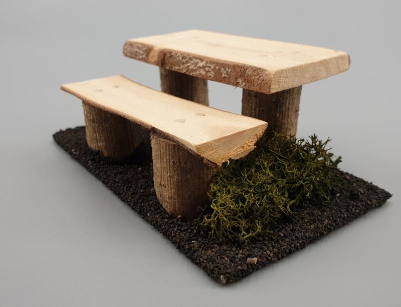 - Weihnachtskrippen Zubehör Holz Bank mit Tisch - Weihnachtskrippen Zubehör Holz Bank mit Tisch