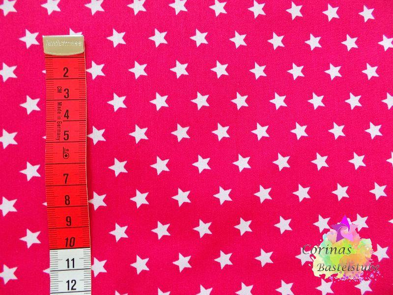 Kleinesbild - Baumwollstoff pink mit weißen kleinen Sternen  STOFF