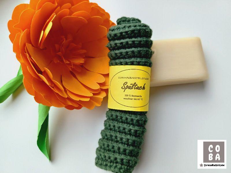 Kleinesbild - Spültuch, Spüllappen, Spüli, Schwamm, gehäkelt dunkelgrün, 100 % Baumwolle nachhaltig umweltbewusst