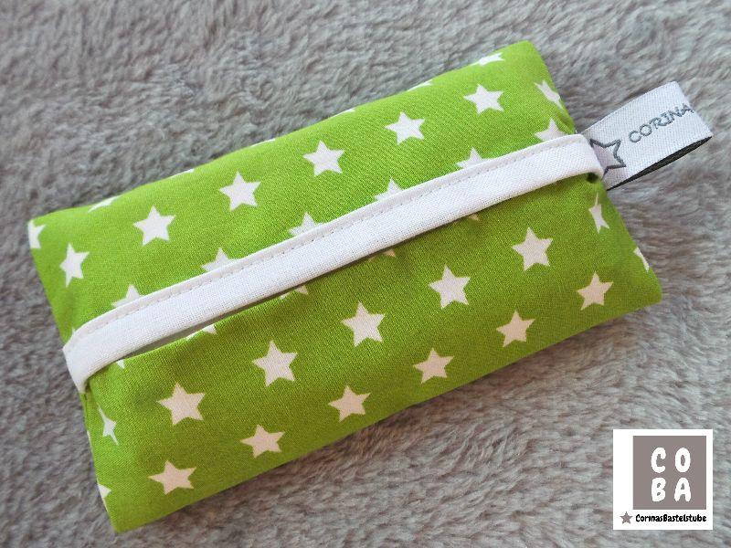 - TATÜTA Taschentüchertasche grün mit weißen Sternen - mit Liebe genäht  - TATÜTA Taschentüchertasche grün mit weißen Sternen - mit Liebe genäht