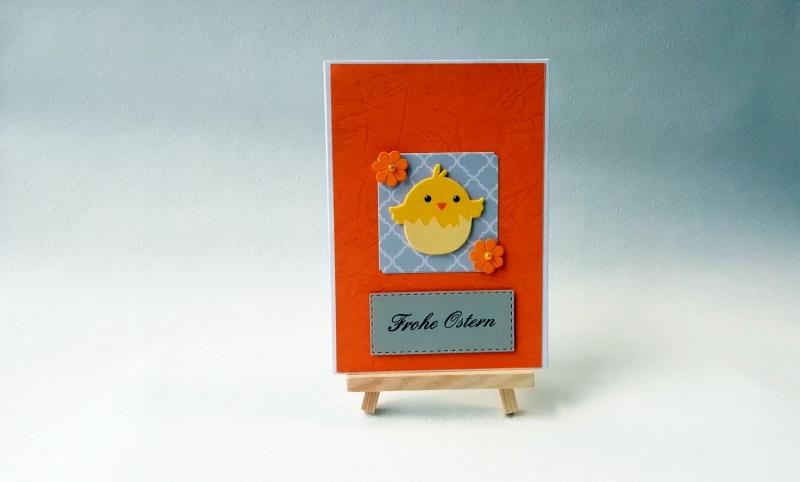 - Grußkarte, Karte zu Ostern, Osterkarte, orange, Küken, Frohe Ostern, ca. 10,5 x 15 cm - Grußkarte, Karte zu Ostern, Osterkarte, orange, Küken, Frohe Ostern, ca. 10,5 x 15 cm
