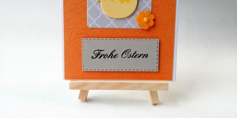 Kleinesbild - Grußkarte, Karte zu Ostern, Osterkarte, orange, Küken, Frohe Ostern, ca. 10,5 x 15 cm