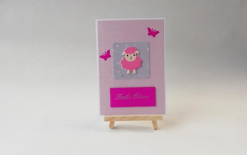 - Grußkarte, Karte zu Ostern, Osterkarte, pink, rosa, Schaf, ca. 10,5 x 15 cm - Grußkarte, Karte zu Ostern, Osterkarte, pink, rosa, Schaf, ca. 10,5 x 15 cm